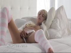 Best video link category sexy (322 sec). Blonde model Emma Mae in sexy kneesocks.