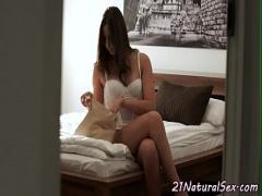 Play video link category sexy (369 sec). Classy model masturbating in the bedroom.