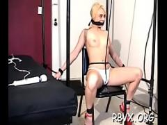 Full x videos category bdsm (307 sec). Tightly tied doxy gets her pussy thoroughly examined.