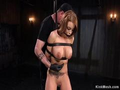 Embed video category bdsm (307 sec). Strapped busty babe ass whipped.